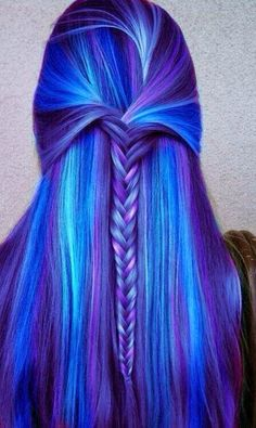long and straight bright blue hair with fishtail. I love how there is different shades of blue.