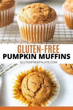 Tender, sweet gluten-free pumpkin muffins that are simple to make and use minimal ingredients. You're going to love the fall spices in this gluten-free pumpkin muffin recipe. These muffins are naturally dairy-free.