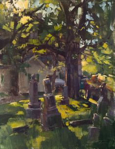 "I was the judge for Plein Air KC this year, and I did this quick study just before the final quick paint of the festival at Union Cemetery. ""Rising & Falling, Union Cemetery"" (oil on linen, 14""x18""). #patricksaunders #patricksaundersfinearts #unioncemetery #kansascity #pleinairkc"