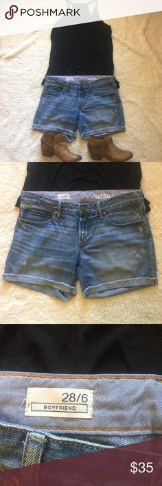 1969 boyfriend cut off embroidered denim shorts Gorgeous medium wash distressed looser fit jean shorts Awesome embroidered element mixed with spots of distressing  Cuffed bottom 100 % cotton  5 inch inseam GAP Shorts Jean Shorts