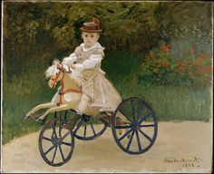 Claude Monet (1840–1926)   Jean Monet on his Hobby Horse  Date 1872  Medium oil on canvas  Dimensions 60.6 × 74.3 cm (23.9 × 29.3 in)  Current location   [show]Metropolitan Museum of ArtLink back to Institution infobox template  New York  Accession number Metropolitan Museum of Art (Accession Number 2000.195)