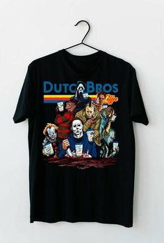 Dutch Bros Coffee IT Pennywise We All Float Down shirt Oversized Graphic Tee, Graphic Tees, Squad Goals Shirts, Horror Villains, Halloween Horror Movies, Dutch Bros, Fan Shirts, Pretty Shirts, Michael Myers
