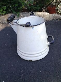 Vintage White Metal Watering CAN