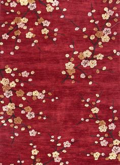Brio Collection Cherry Blossom Area Rug in Red design by Jaipur