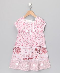 Take a look at this Pink Floral Rickrack Tiered Dress - Toddler & Girls by Alouette on #zulily today!