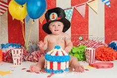 Circus Cake Smash   Katherine Chambers Photography, Cleveland Baby Photographer, www.katherinechambers.com