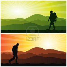 backpacker, vector illustration Stock Photo
