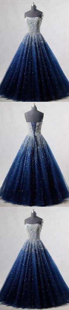BLUE SWEETHEART SEQUIN TULLE LONG PROM DRESS, BLUE EVENING DRESS G432