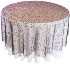 """108"""" Round Seamless Embroidered Organza Overlay - Regency 95863(1pc/pk)"""