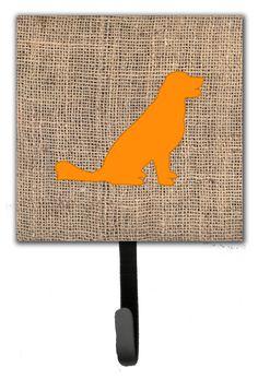 Labrador Burlap and Orange Leash Holder and Wall Hook