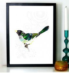 Bluebird by Sofie Rolfsdotter #nordicdsigncollective #sofierolfsdotter #bluebird #green #blue #bird #birds #poster #print #prints #art #wallart #interiordesign #homedecor #candle #light