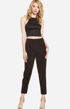 High Waist Cropped Pants in Black L | DAILYLOOK