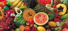 Grapes, watermelon, lemon, soursop, guava, starfruit, pumpkin, banana, pineapple, coconut, papaya.