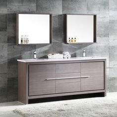 Fresca Allier 60-inch Grey Oak Modern Double Sink Bathroom Vanity with Mirror | Overstock.com Shopping - The Best Deals on Bathroom Vanities