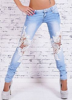 - Stylish floral lace trendy womens jeans for the stylish woman - Trendy design offers a unique stylish look - Perfect for special occasions or parties - Made from high quality material