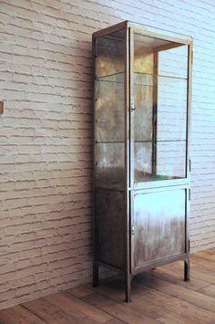 Vintage polished steel&glass medical cabinet
