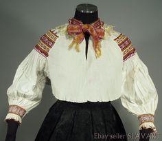 Slovak folk costume hand-embroidered pleated blouse Zliechov old kroj stained :( Folk Costume, Costumes, Blouse, Shopping, Dresses, Fashion, Vestidos, Moda, Dress Up Clothes