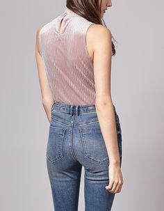 Striped velvet perkins collar top