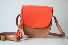 Mini Cross Body Leather Bag in Nude and Tangerine by marchandcraft