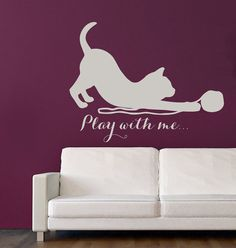 Cat Wall Decals Quote Play With Me Kitten by WallDecalswithLove