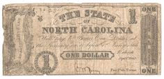 1862 THE STATE OF NORTH CAROLINA $1 CR 88 GOOD FREE US SHIP