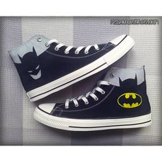 Batman Custom Converse / Painted Shoes ($70) ❤ liked on Polyvore featuring shoes, batman, converse, 18. converse., sneakers, converse shoes, converse footwear, perspex shoes, lucite shoes and acrylic shoes