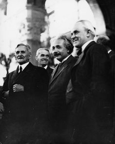 Albert Einstein at the California Institute of Technology in the 1930s. From left to right: Dr. Michelson, Dr. Albert Einstein and Dr. Robert A. Millikan, President of the California Institute of Technology.