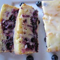 Lemon Blueberry Yogurt Cake with Vanilla Glaze