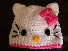 Hello Kitty Hat  Any size Crochet Baby hat by countryatheart2, $12.00