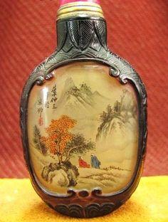 Chinese Peking Glass Snuff Bottle, Mountain Scenery, Signed