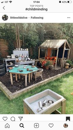 Outdoor Play Spaces, Kids Outdoor Play, Backyard For Kids, Backyard Projects, Backyard Patio, Outdoor Play Kitchen, Backyard Ideas, Natural Playground, Backyard Playground