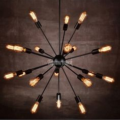 Outdoor Plug In Chandelier: Industrial 18-Light Vintage Decor Metal Sputnik Chandelier Pendant Hanging  Lamp,Lighting