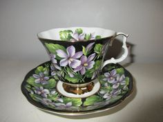 Royal Albert Provincial Flowers Purple Violets on Black Background, mint condition by MySimpleDistractions on Etsy