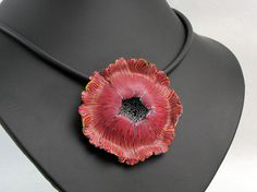 Fairy Flower necklace , unique polymer clay, millefleur, millefiori, fimo, art clay