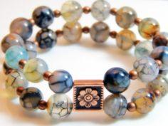 B205  Double Row Dragon Vein Agate Beads Stretch Bracelet by Yvets, $25.00