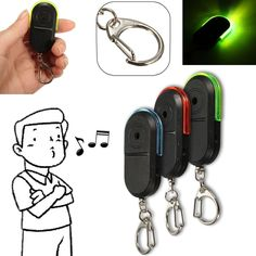 1 Pc Wireless Anti-Lost Alarm Key Finder Locator Keychain Whistle Sound LED Light Color Random