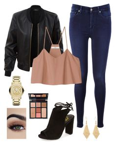 """Untitled #47"" by sarahperri on Polyvore featuring LE3NO, 7 For All Mankind, TIBI, Michael Kors and Charlotte Tilbury"