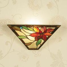 Applique Tiffany / Lampada da Parete Tiffany con Fiori Rossi