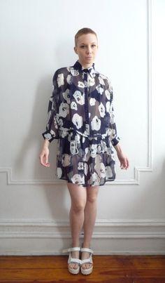 Moschino Sheer Floral Dress by TripleGemini on Etsy, $65.00