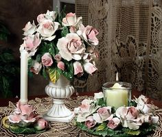 Pink Rose Capodimonte Candle Holder Centerpiece-