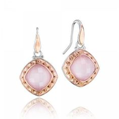 Tacori Blushing Rose Quartz & Mother of Pearl Earrings ($1,180) ❤ liked on Polyvore featuring jewelry, earrings, pink earrings, rose quartz earrings, pink jewelry, holiday jewelry and evening jewelry