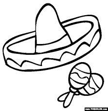 Coloring page of sombrero mexican hat printable fiesta for Mexican sombrero coloring page