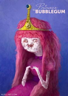 Personal piece based on the cartoon Adventure Time. Princess Bubblegum selected for the 2012 Society of Illustrators student competition. Adventure Time Princesses, Realistic Cartoons, Land Of Ooo, Smosh, Cosplay, Princess Bubblegum, Anime Style, Bubble Gum, Cartoon Characters