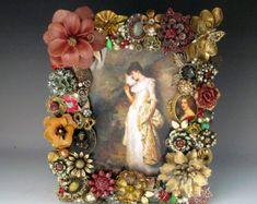 Rojo rubí y oro Vintage joyería marco de imagen por vintagedesign39