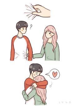 Cute Couple Comics, Cute Couple Cartoon, Cute Couple Art, Cute Couple Pictures, Cute Cartoon, Unique Love Quotes, Cute Quotes For Life, Love Picture Quotes, Cute Relationship Goals