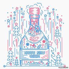 """Скачивайте роялти-фри векторное изображение """"Bottle of champagne. Happy new year."""", созданое Molnia по самой низкой цене на Fotolia.com. Полистайте наш банк изображений и найдите идеальный стоковый вектор для вашего маркетингового проекта!"""