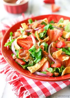 Strawberry Wonton Spinach Salad @Christy {The Girl Who Ate Everything}
