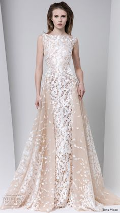 tony ward fall winter 2016 2017 rtw sleeveless bateau neck a line off white evening dress wedding inspiration