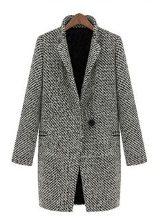 Black White Notch Stand Collar Long Sleeve Oversize Houndstooth Coat - Coats - Outerwear - Shop All Chic | WithChic
