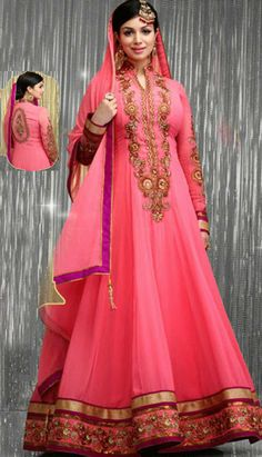This lovely pink color georgette #anarkali style churidar Kameez is showing amazing embroidery done with resham, zari, stone and patch patty work. Beautiful embroidered front and back side is highlighting the royalty of the kameez. Maching churidar and chiffon dupatta is available